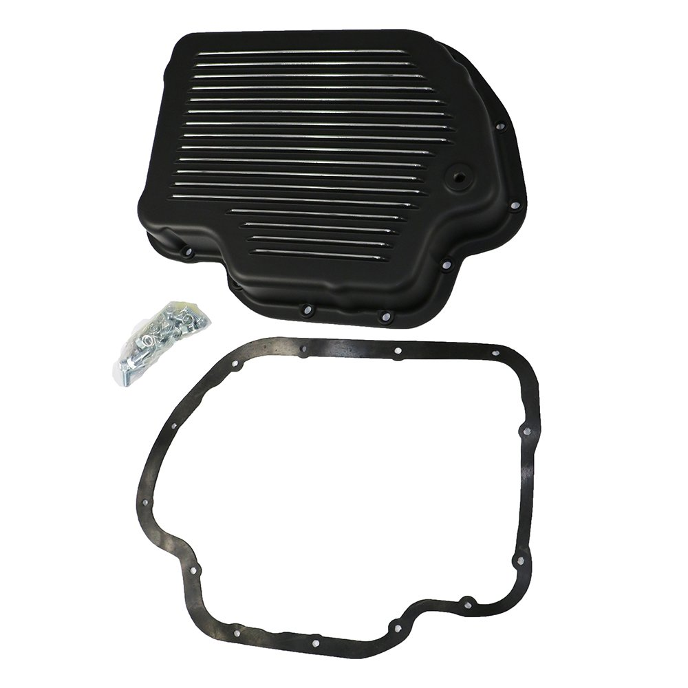 Assault Racing Products A8492PBK GM Chevy Turbo 400 Black Aluminum Transmission Pan Kit Gasket Bolts TH400