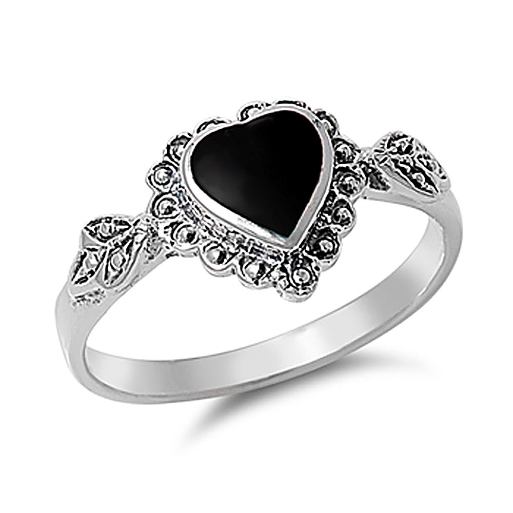 Sterling Silver Simulated Black Onyx Vintage Style Heart Promise Ring 10mm ( Size 4 to 10 )