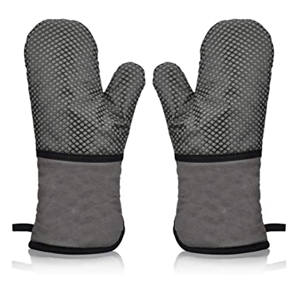 Mimicrowave 1 Pair Non Machine Washable Cooking Slip Extra Long Oven Gloves for BBQ Barbecue Baking Grilling Heat Resistant Silicone Oven Mitts with Quilted Cotton Lining