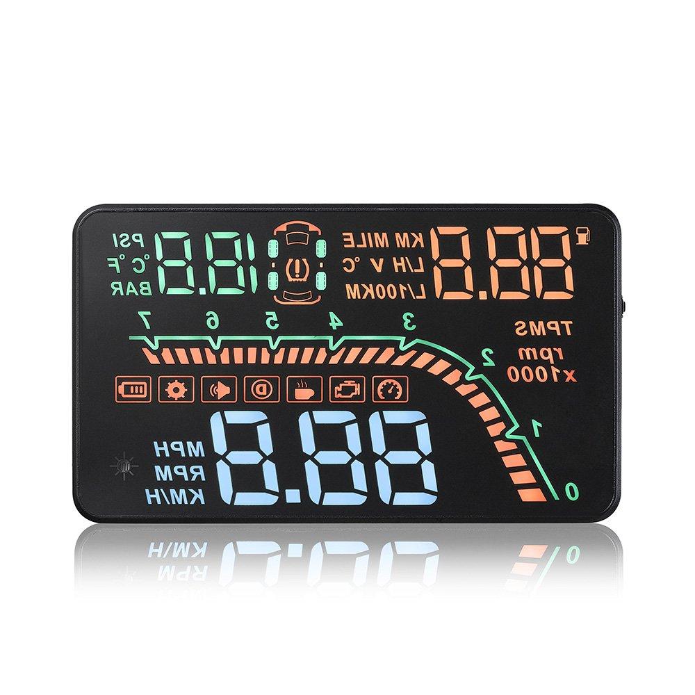 KKmoon Car HUD Head Up Display KM/h & MPH TPMS Tire Pressure Monitor Speed Warning Windshield Project System OBD2 Interface Plug & Play