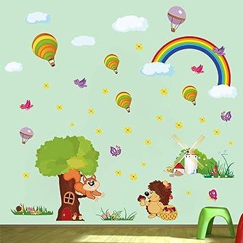 ufengke Pegatinas de Pared Animales del Bosque Vinilos Adhesivos Pared Árbol Arco Iris Decorativos para Dormitorio Habitación Infantiles Bebés: Amazon.es: Hogar
