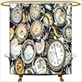 Antique Fishing Lure Shower Curtain Shower Curtain Spa Antique Theme A Pile of Several Vintage Clocks Retro Pattern Ative Design for Gold Beige. Waterproof and Anti-Mold Polyester Bathtub with 12 Hooks.W66 x H72 Inch