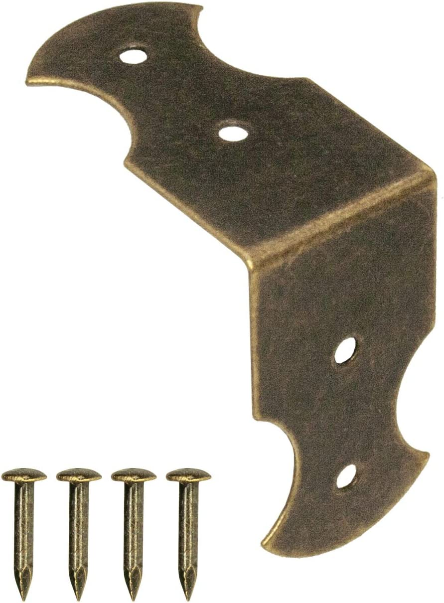 Fuxxer – 40 conectores angulares, herrajes, esquinas angulares, pinzas, protección, conexión, latón antiguo, 23 mm x 13 mm, 40 unidades con clavos