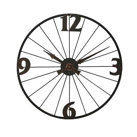 Relojes De Pared Arte De Hierro Silencioso Vintage Circular Rueda De Bicicleta Reloj Superficie De La