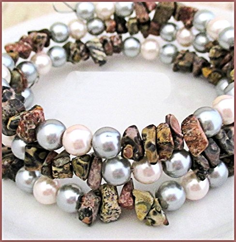 (Pearl Gemstone Coil Bracelet)