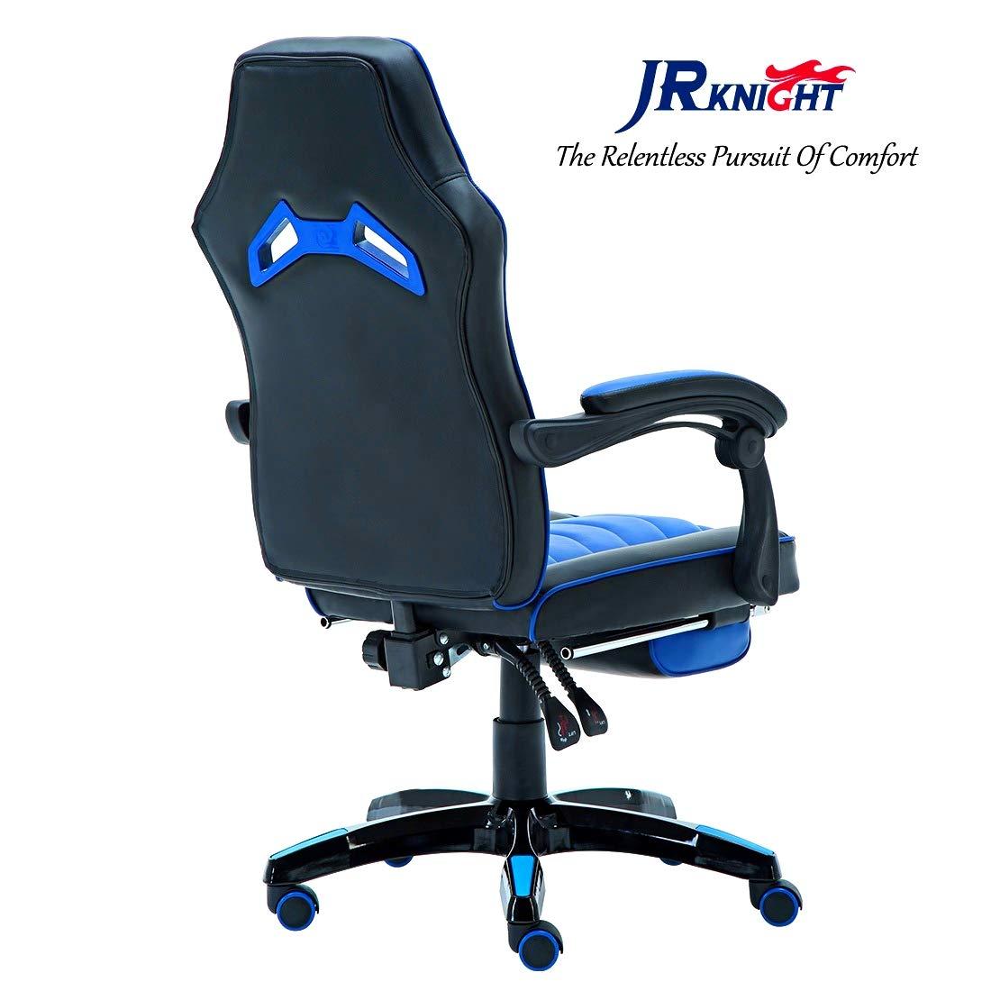 Jr caballero silla ergonómica de juego con reposapiés, profesional jugador de diseño de oficina en casa de ordenador giratoria silla de carreras, ...