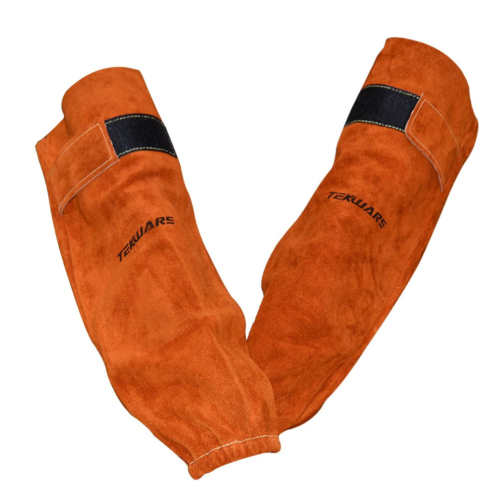 Tekware Adjustable and Comfortable Premium Cowhide Leather Welding Sleeves Flame Heat Resistant Arms and Hands Protectors With Elastic Cuff And Velcro For Welders
