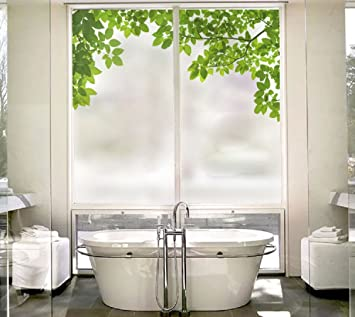 Nice Beyong Life Green Leaves Nature Privacy Window Film Glass Stickers Bedroom  Bathroom Office Glass Decor Custom