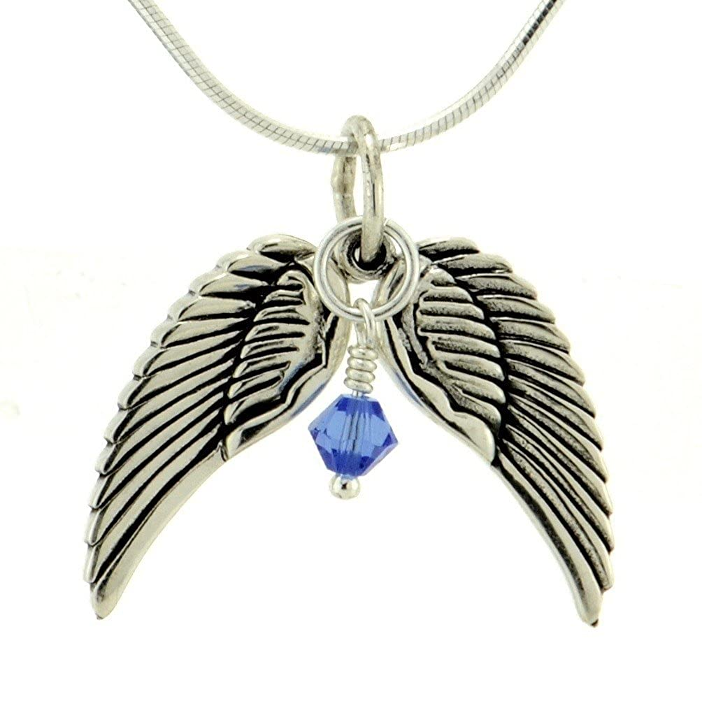 Two Wings Personalized Pendant 925 Sterling Silver Love Birthstone Crystal Handmade Custom Charm Snake Chain Necklace Unique Beautiful Gift Jewelry