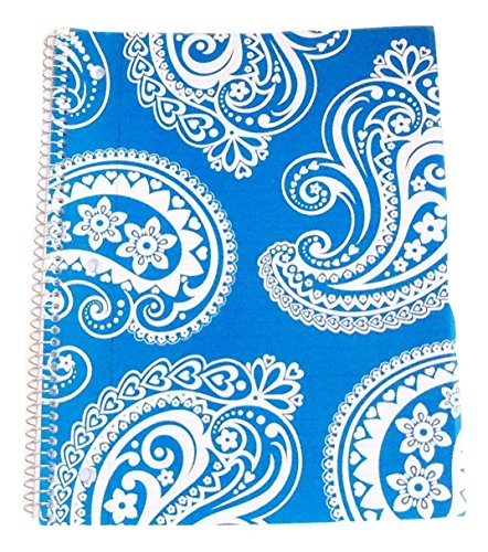 Carolina Pad Studio C College Ruled Spiral Notebook with Textured Poly Overlay Cover ~ Driving Ms. Paisley (Blue with Decorative Swirls; 8