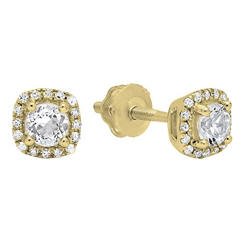 Dazzlingrock Collection 10K 3.5 MM Each Round Gemstone White Diamond Ladies Halo Style Stud Earrings, Yellow Gold