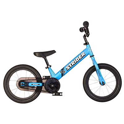 side facing blue strider 14x pedal balance bike
