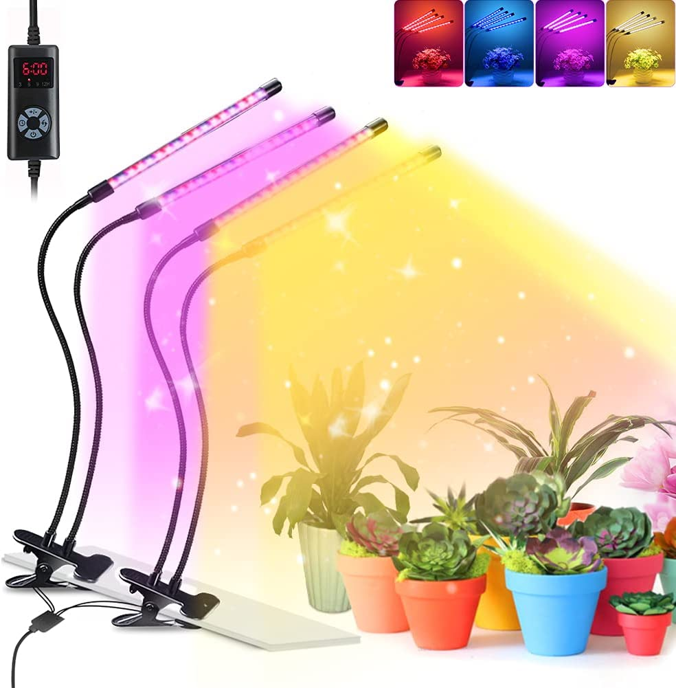Led Grow Light for Indoor Plants, 264Led 4 Switch Modes 9 Dimmable Levels 3 6 9 12H Timer Adjustable Plant Light with Full Spectrum Red Blue Spectrum for House Garden Hydroponics Succulent Growing