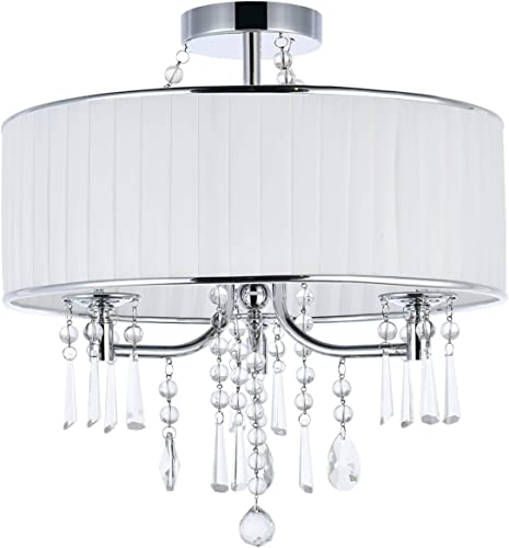 A1A9 Modern 3-Light Drum Pendant Lighting Fixture, 16 White Fabric Shade, Semi Flush Mount Ceiling Lights with Crystal, Chrome Finish Chandelier for Entryway, Hallway, Dining Room and Bedroom