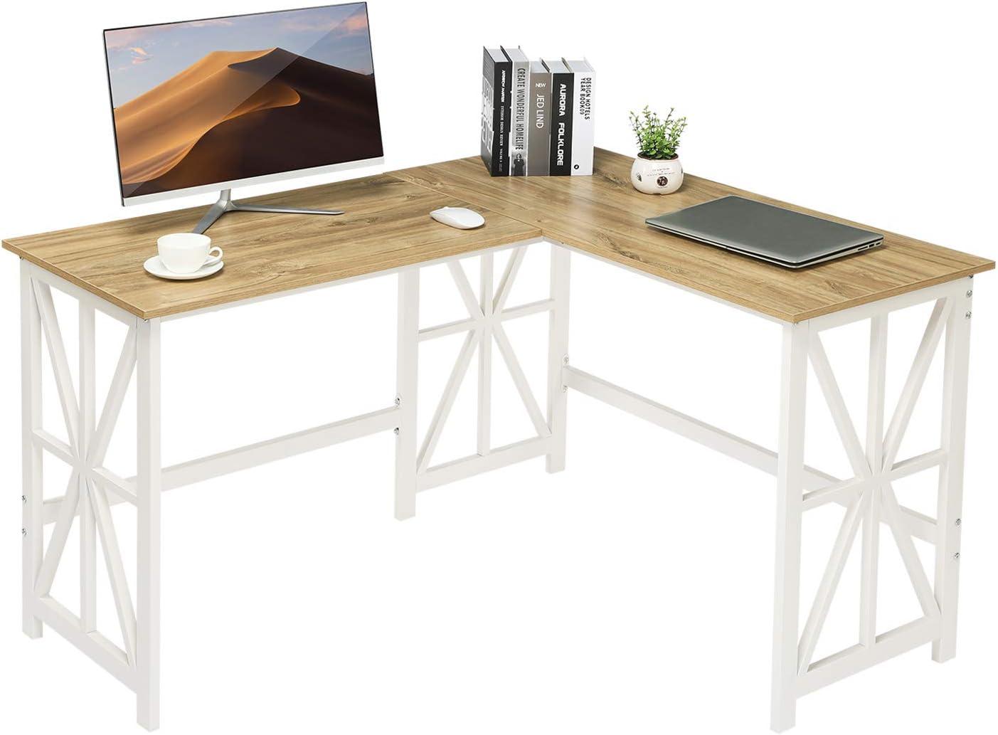 GreenForest L Shaped Corner Desk, Industrial Style Compact Design Computer Gaming Desk PC Laptop Workstation for Home Office, Oak