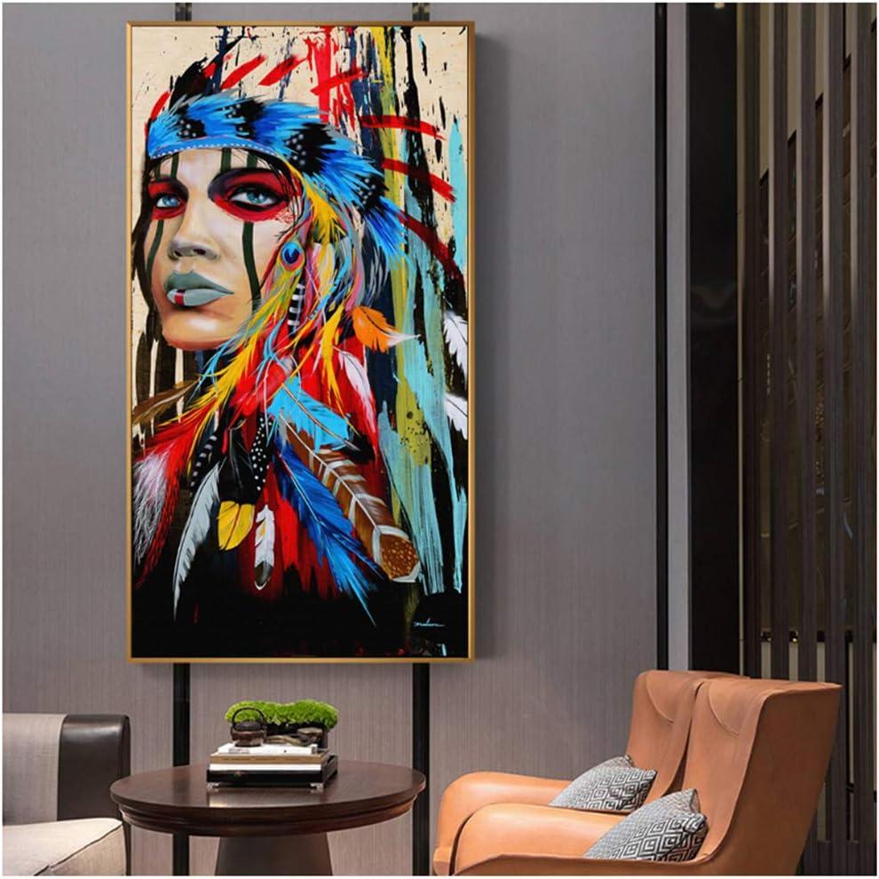 NIEMENGZHEN Impression sur Toile Pop Art Indien Fille Toile Art Peintures Murales Femme Indienne avec Plume Affiches Et Impressions pour Salon D/écoration Murale 30x60 cm sans Cadre