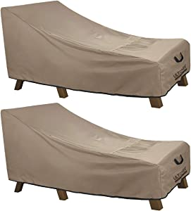 ULTCOVER Waterproof Patio Lounge Chair Cover Heavy Duty Outdoor Chaise Lounge Covers 2 Pack - 84L x 32W x 32H inch