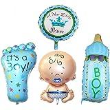 Rzctukltd 4PCS Boy Foil Helium Baby Foil Balloon For Newborn Baby Shower Christening Birthday Party