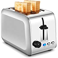 2-Slice Toaster, Stainless Steel Toasters with Extra-Wide Slots and Removable Crumb Tray (Silver)