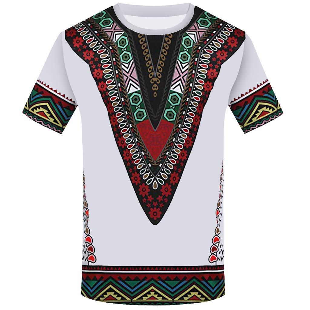 iZHH Men's T Shirt Fashion African Printed T Shirt Short Sleeve Casual Shirt Top Blouse White