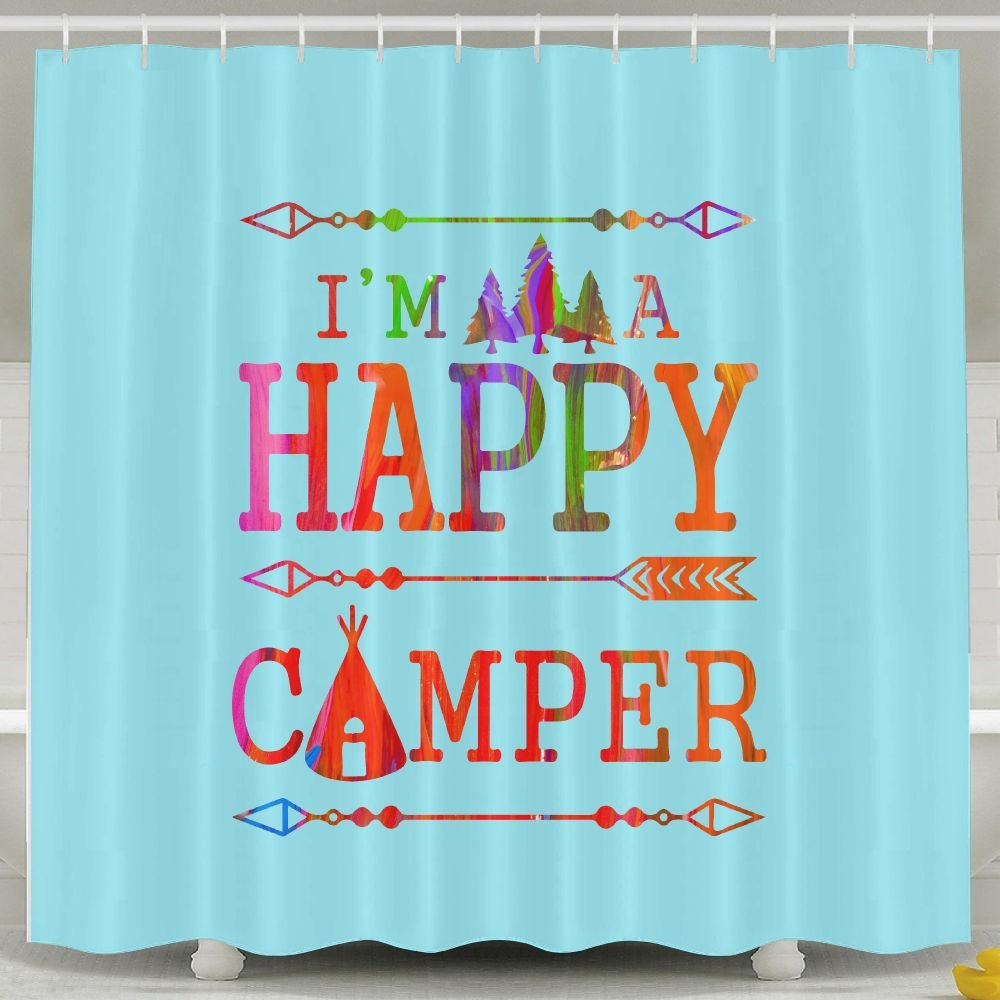 Amazon BESTSC Bath Curtain Camping Mountain Happy Camper SKY BLUE Shower Curtains