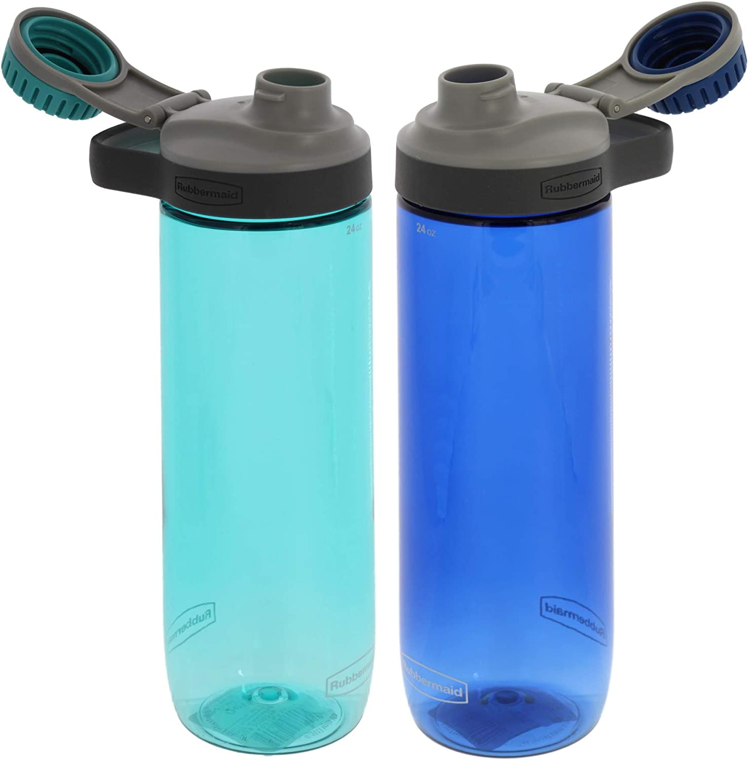 Rubbermaid Chug Water Bottle Set, 2 Pack - 24 Ounce, Nautical Blue and Aqua - The Perfect Rubbermaid Water Bottle - Ideal for the Gym, Office, Travel, School