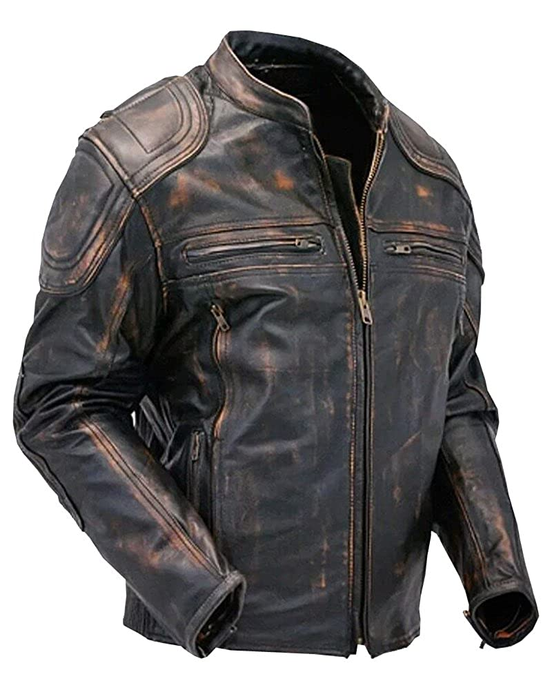 Cafe Racer Quilted Distressed Vintage Motorcycle Leather Jacket For Sale On Amazon Leather Mania ●→ goat-MB-0499