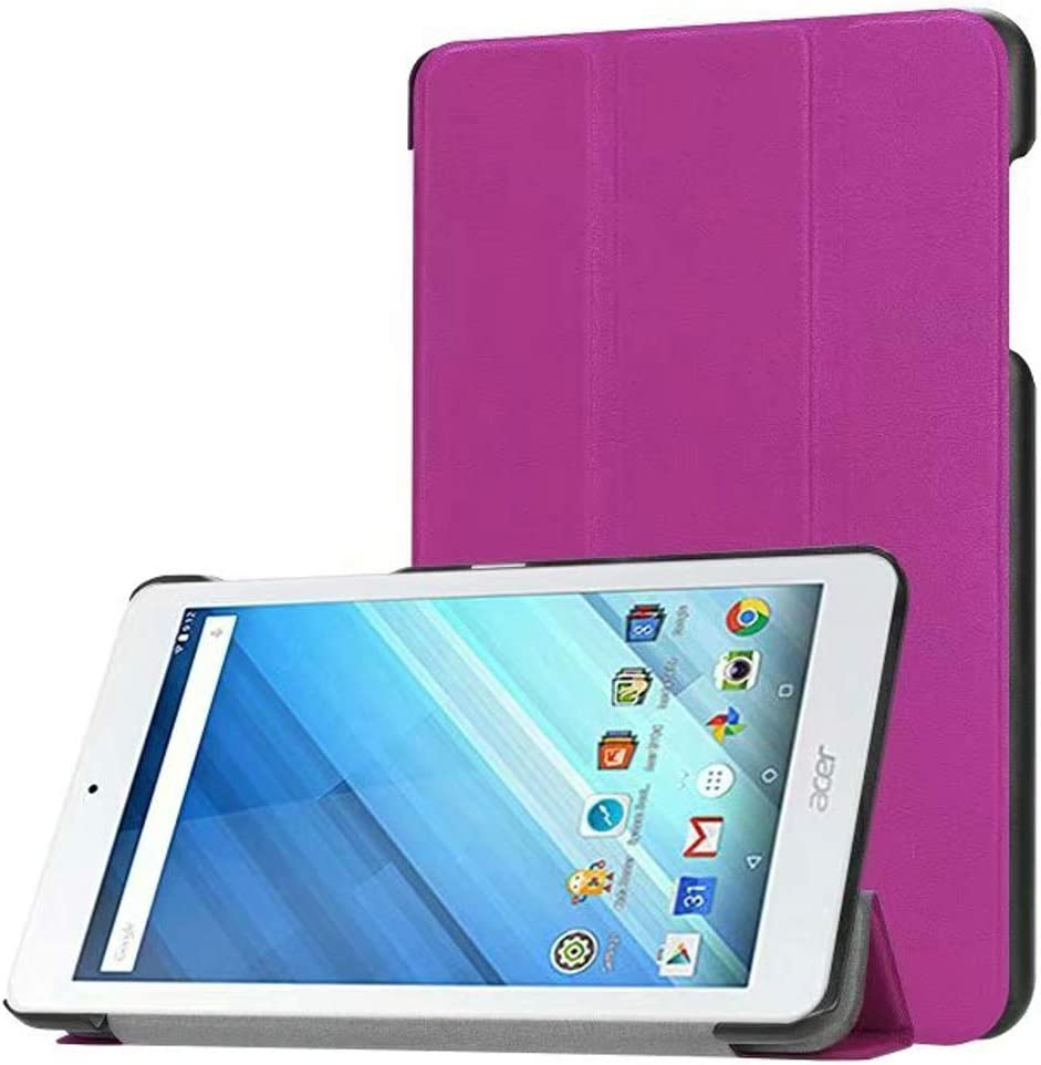 """for Acer Iconia One 8 B1-850 B1-860 B1-870 / One8 B1-860A Leather Case 8"""" Ultra Slim Folio Stand Luxury with Sleep Wake Up Function Smart Cover (Purple)"""
