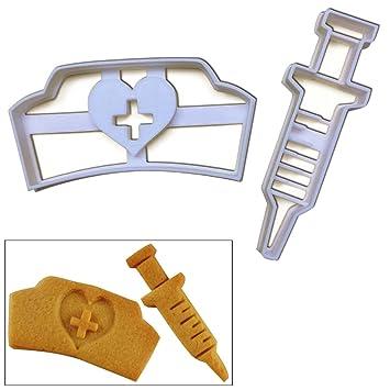 Set de 2 cortadores de galletas (enfermera sombrero y jeringa para galletas), 2 pcs, ideal para médicos fiesta temática o como regalos para Enfermeras: ...