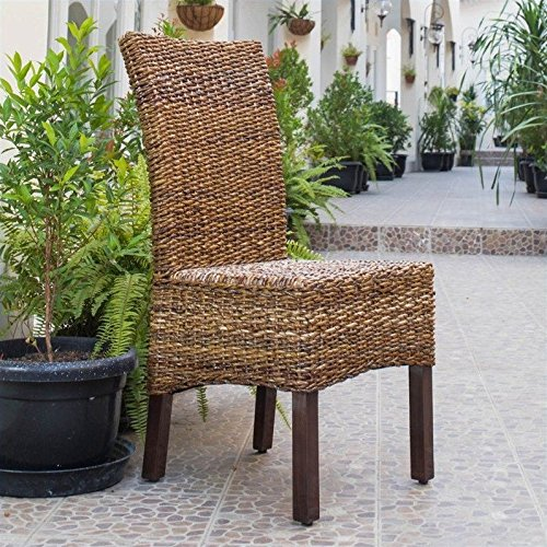 International Caravan SG-3300-2CH-IC Furniture Piece Set of Two Arizona Abaca Dining Chairs (Chairs With Dining Rattan Set Room)