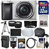 Sony Alpha A6300 4K Wi-Fi Digital Camera & 16-50mm Lens (Silver) 32GB Card + Case + Flash + Battery & Charger + Tripod + 3 Filters + Kit