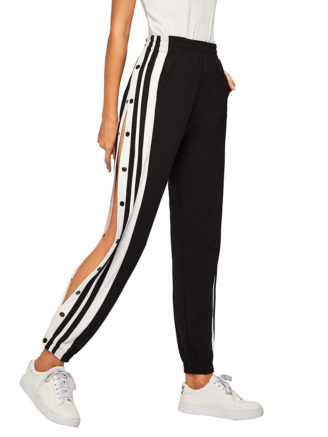 80055a4f SOLY HUX Women's Sporty High Split Side Striped Joggers Snap Button Track  Pants at Amazon Women's Clothing store: