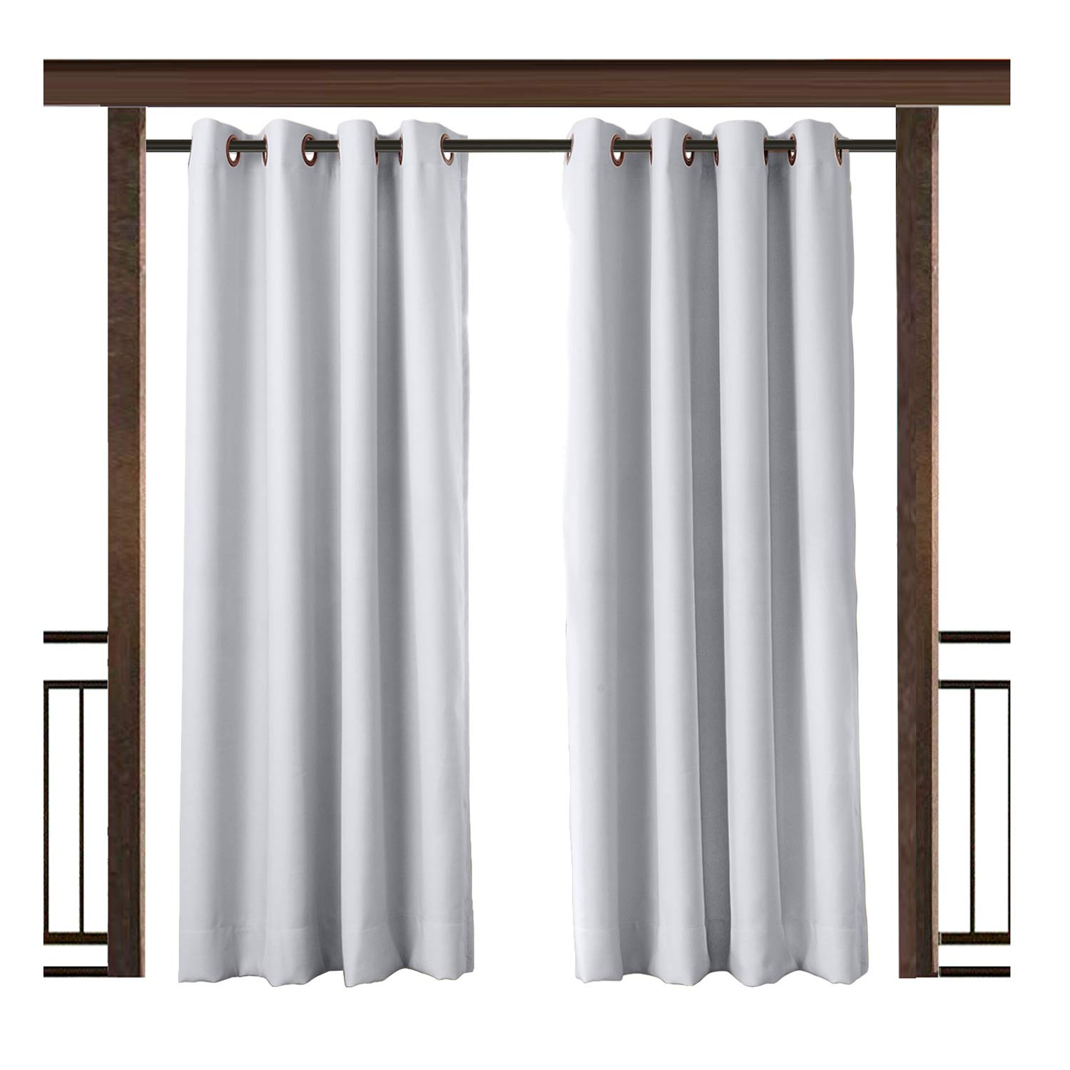 TWOPAGES Outdoor Waterproof Curtain White Grommet Drape, 100'' W x 96'' L For Front Porch Pergola Cabana Covered Patio Gazebo Dock Beach Home (1 panel)
