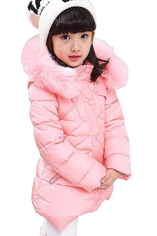 PJSONESIE Girls Winter Warm Jackets Snowsuit Hooded Windbreaker Outwear Soft Fur