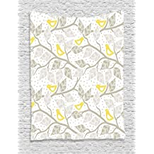 Ambesonne Grey Decor Collection, Birds on the Branch with Pastel Colored Leaves on Dotted Background Nature Art Home, Bedroom Living Room Dorm Wall Hanging Tapestry, Yellow Gray White