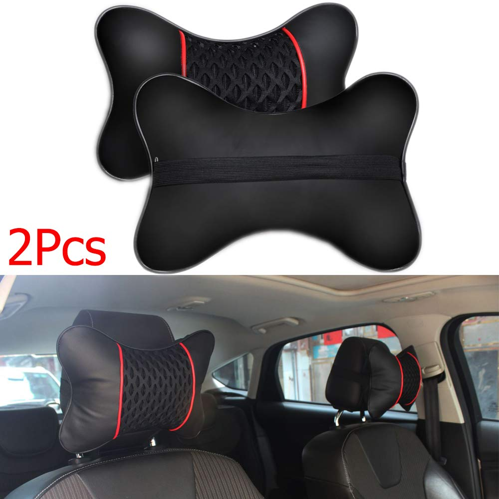 okdeals PU Leather Knitted Car Pillows Headrest Neck Cushion Support Seat Accessories-2Pcs