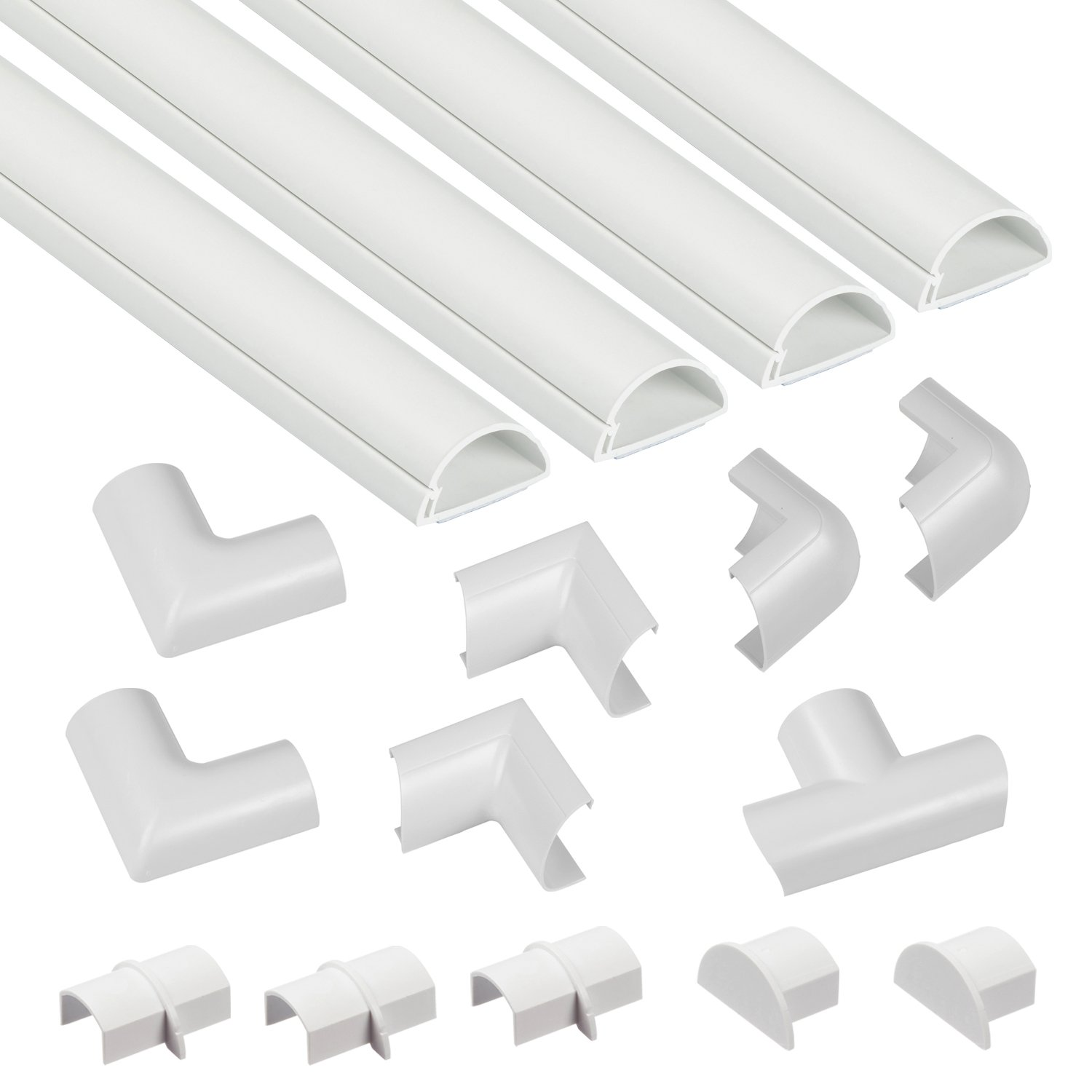 "D-Line Mini Cable Raceway Kit | Self-Adhesive Wire Covers | Electrical Raceway, Popular Cable Organizer for Home Theater, TV, Office and Home | 4 x 39"" Lengths Per Pack - White"