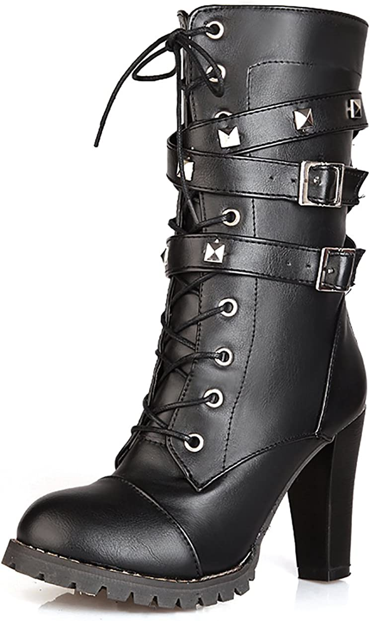 Susanny Womens Mid Calf Leather Boots High Heel Lace Up Military Buckle Motorcycle Cowboy Ankle Booties