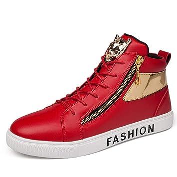 ce13b812d95ea3 Zxcvb Herren Winter Round Toe Handbemalt Leder Schnürschuh innen  Reißverschluss und Strap High-Top Sneaker