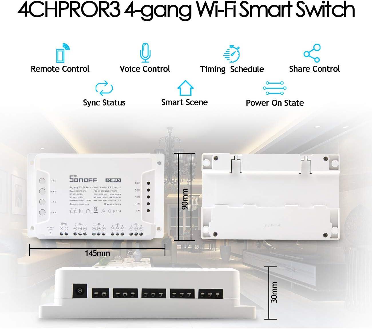 4CH Pro R3 Interruptor Inteligente WiFi Smart Switch Inalámbrico Conmutador con Autobloqueo/Enclavamiento/Intermitente (0,5-3600s) para Amazon Alexa, Google Assistant, Nest, IFTTT + Elettroscopio: Amazon.es: Bricolaje y herramientas