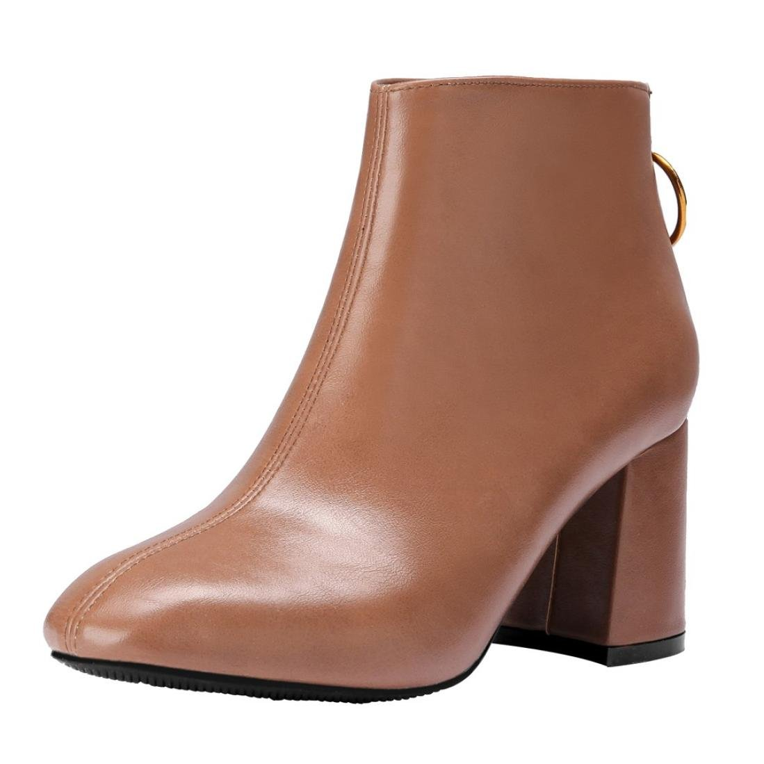 Womens Winter Boots - Chunky Heel Back Zipper Ankle Booties - Ladies Faux Lether Point Toe Snow Boots Shoes (Brown, 38/US:7)