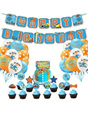 Blippi Birthday Party Supplies for Boy Girl Birthday Decorations-Blippi Happy Birthday Banner Cake Toppers Cutouts Balloons for kids Birthday Party favor