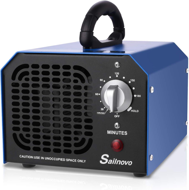 Sailnovo Generador de Ozono Hogar 6000 mg/h Máquina de Ozono Para Coche Desinfectador de ozono Purificador Ozono de Aire con Temporizador de 180 min para Eliminaciónn de Olor y Desinfección