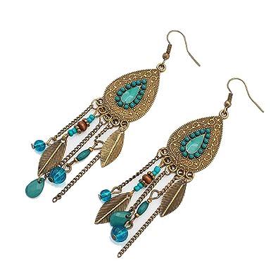 aad5b865c22 Amazon.com: Vintage Earrings Ethnic Style Metal Creative Leaves ...