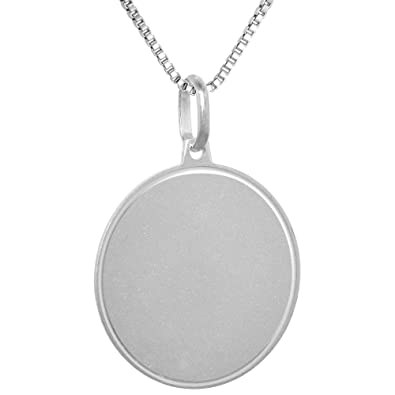 679b643d30037 Amazon.com  Sterling Silver Disk Pendant Round for Engraving Italy 7 8 inch  16 inch Box 015  Jewelry