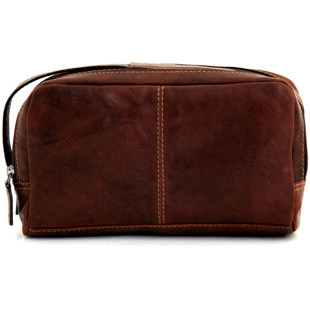 Jack Georges Unisex Voyager Double Zippered Compartment Toiletry Bag in Brown