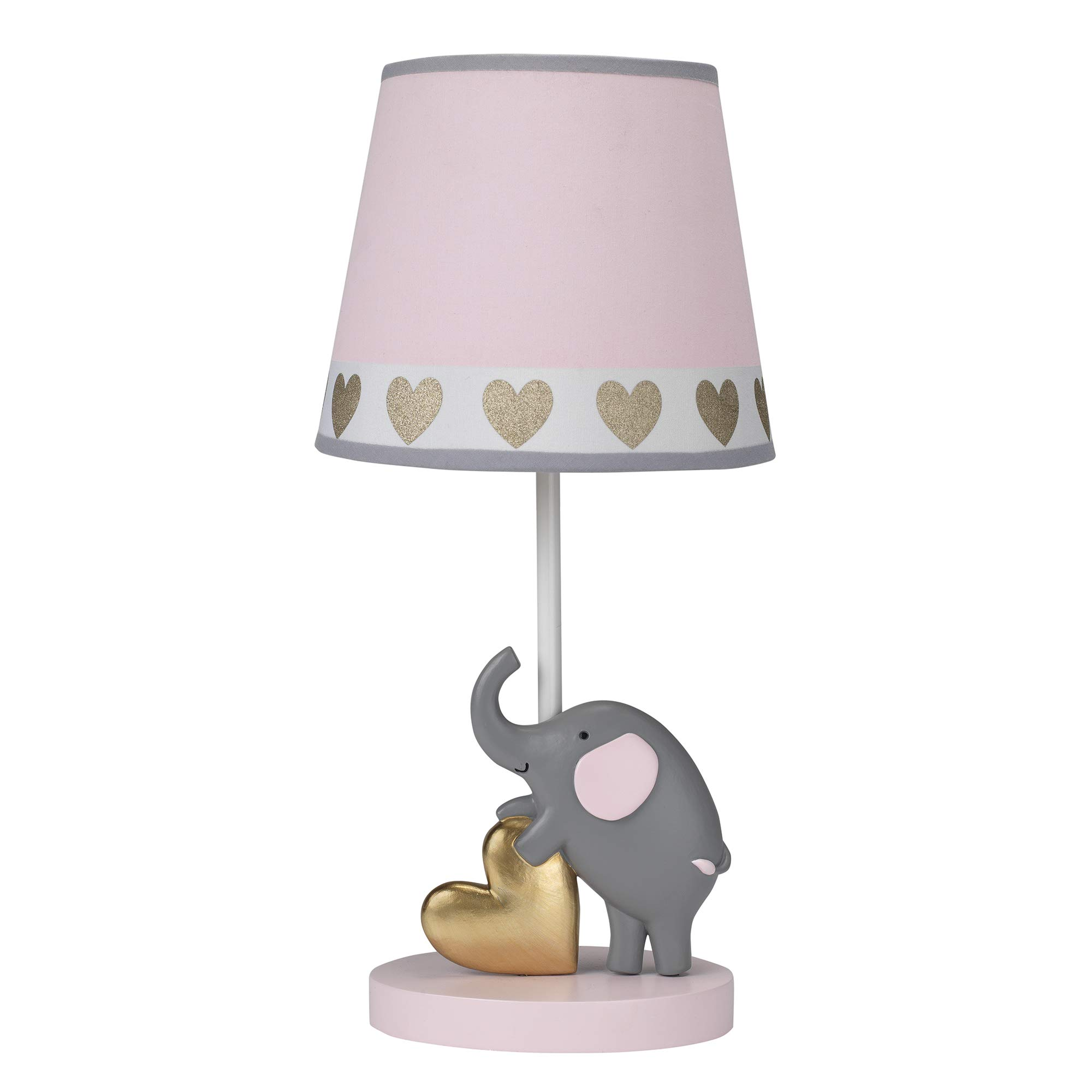 Bedtime Originals Eloise Nursery Lamp & Shade with Bulb - Pink, Gray, Animals