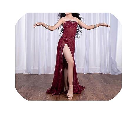 Bellydance Falda de Vestido sin Mangas con pedrería para Baile del ...