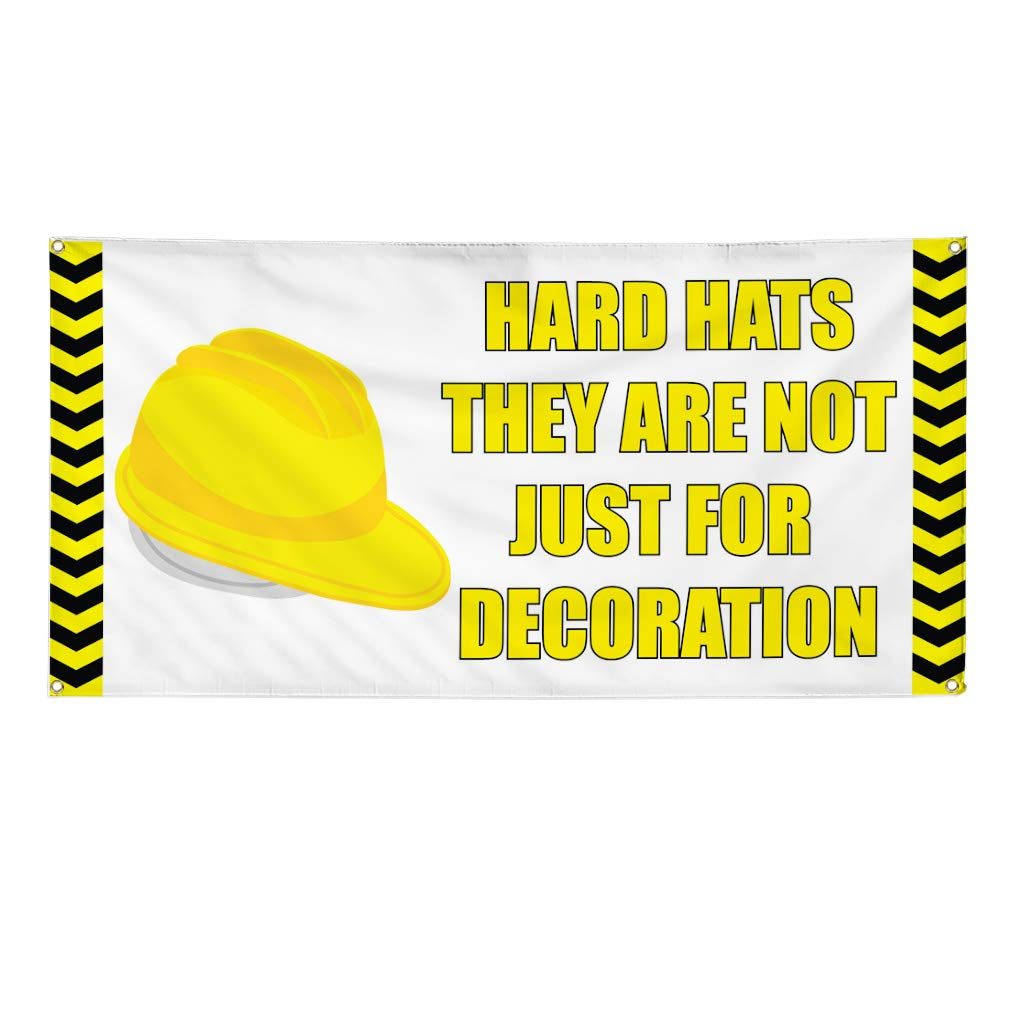 Vinyl Banner Multiple Sizes Hard Hats Not Just for Decoration A Business Outdoor Weatherproof Industrial Yard Signs Yellow 8 Grommets 48x96Inches