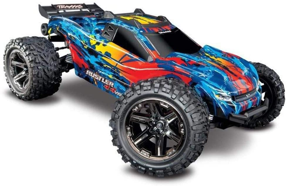 Amazon Com Traxxas 67076 4 Rustler 4x4 Vxl Off Road Electric Remote Control Rc Car With Remote Control For Adults And Kids Red Toys Games